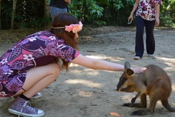 Angie Moon and a wallaby