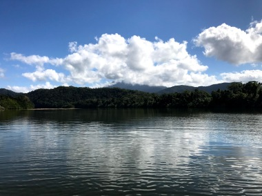 Daintree River with mountains in the background