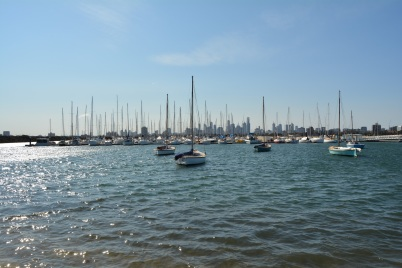 Boats and Melbourne Skyline St Kilda