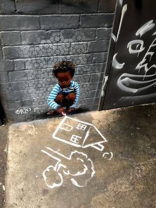 Melbourne street art kid drawing