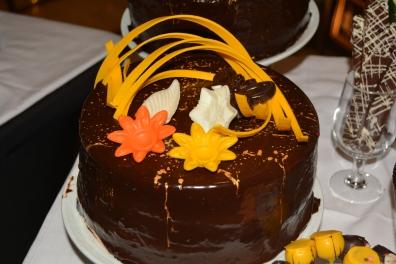 Independence of the Seas NYE dessert - orange chocolate cake closeup