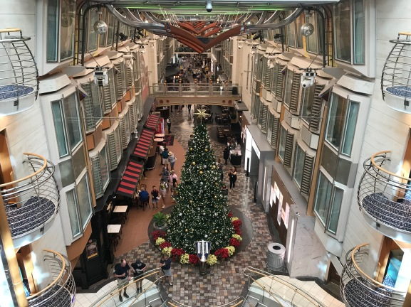 Independence of the Seas Royal Promenade Christmas tree overhead