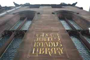 John Rylands Library Exterior with sign