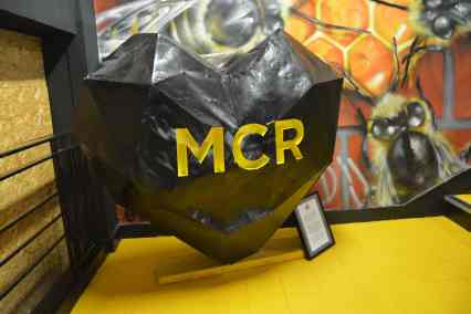 MCR heart with bees art in Afflecks Manchester