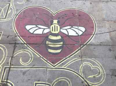 Manchester Worker Bee Street Art in Piccadilly Gardens
