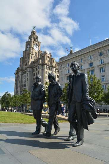 Beatles Statue Liverpool with Royal Liver Building in the background
