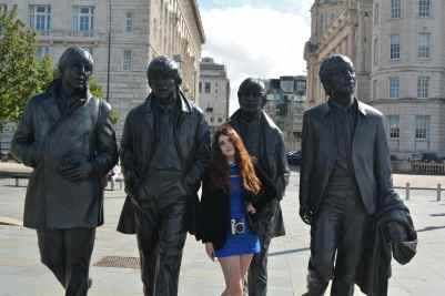 Angie Moon with Beatles Statue Liverpool