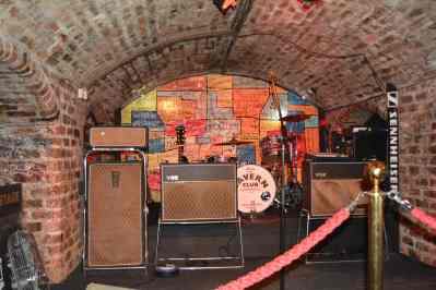 Cavern Club Liverpool interior stage with amps and a drum