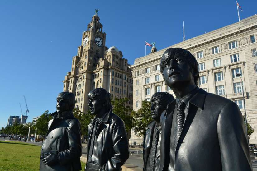 Beatles Statue with Royal Liver Building and Cunard Building in background