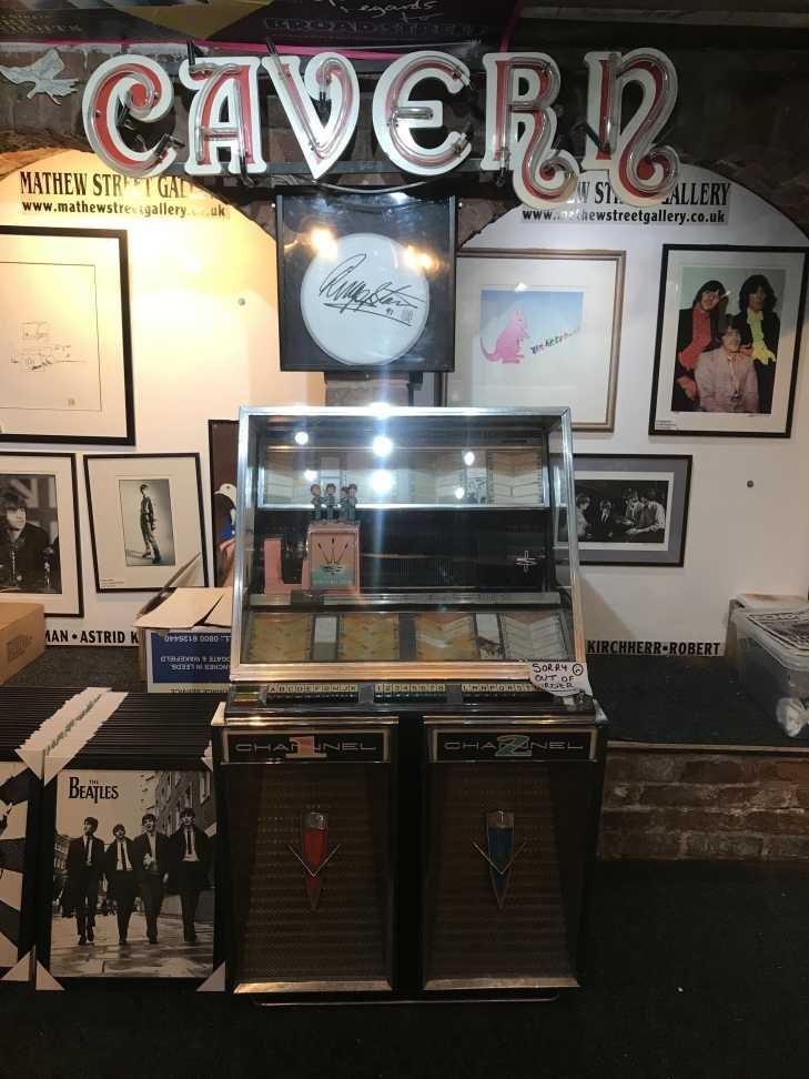 Jukebox and Cavern sign at Beatles Shop