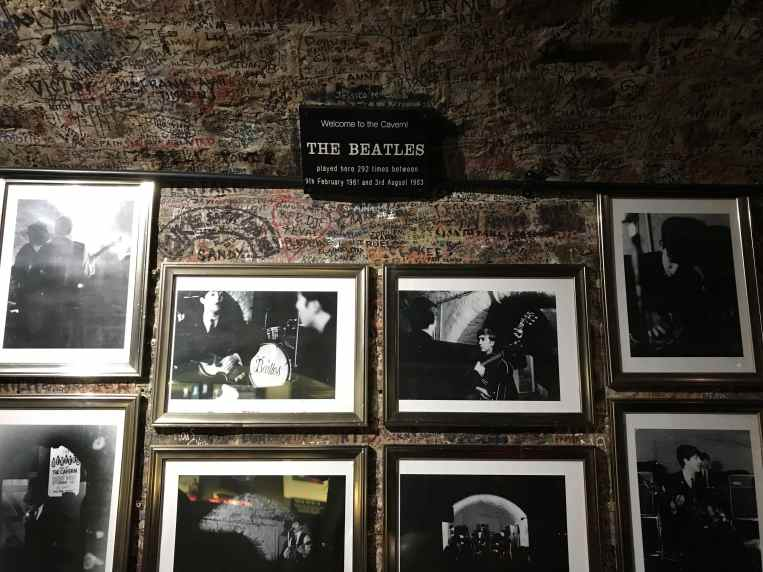 Beatles pictures and sign at Cavern Club