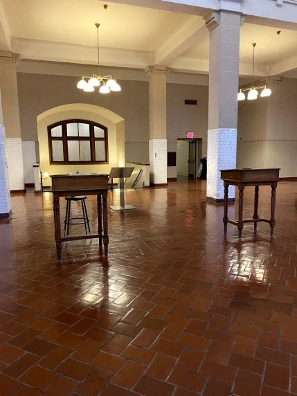Ellis Island immigration desks