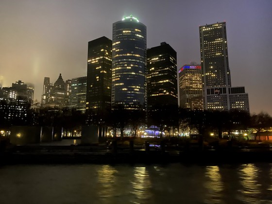 New York City at night returning to Battery Park